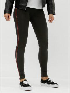 Černé legíny s červeným pruhem na nohavicích ONLY