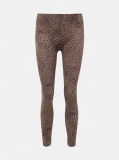Hnědé legíny s leopardním vzorem Pompea Clas