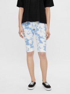 Bílo-modré vzorované krátké legíny Pieces Tabbi Biker shorts