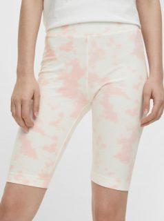 Růžové-bílé vzorované krátké legíny Pieces Tabbi