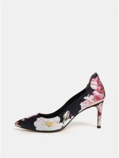 Růžovo-černé květované lodičky Ted Baker