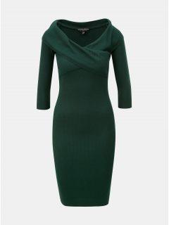 Tmavě zelené žebrované pouzdrové šaty s lodičkovým výstřihem Dorothy Perkins