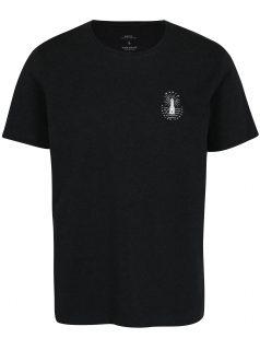 Černé pánské žíhané tričko s potiskem Makia Beam