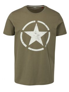 Zelené pánské tričko s potiskem ALPHA INDUSTRIES
