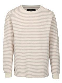 Krémové pruhovaný tričko s dlouhým rukávem Makia Yacht
