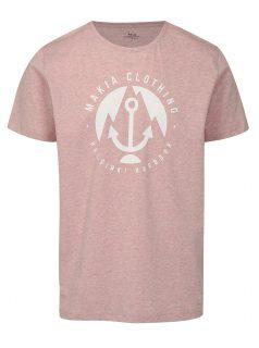 Světle růžové žíhané tričko s potiskem Makia Harbour