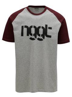 Vínovo-šedé pánské tričko NUGGET Asset