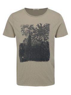 Šedé žíhané tričko s potiskem Selected Homme Casy