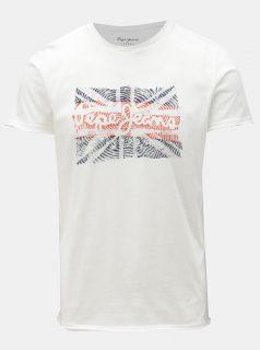 Bílé pánské slim tričko s potiskem Pepe Jeans