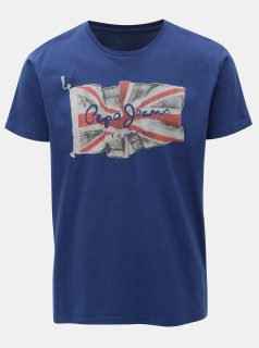 Modré pánské regular tričko s potiskem Pepe Jeans
