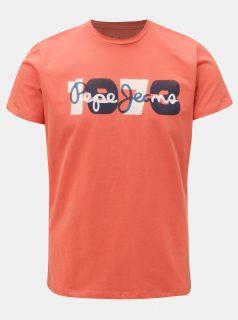 Cihlové pánské tričko s potiskem Pepe Jeans