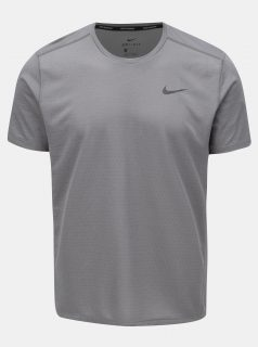 Šedé pánské tričko s potiskem na zádech Nike Miler tech Top
