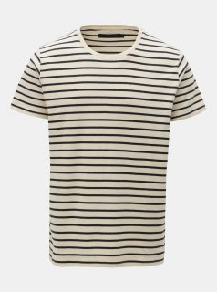 Krémové pruhované tričko SUIT Beagle