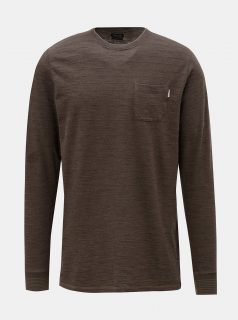 Hnědé tričko s dlouhým rukávem Jack & Jones Larry