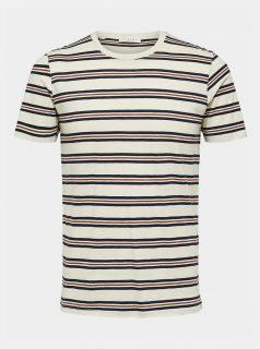 Modro-béžové pruhované tričko Selected Homme Bruno