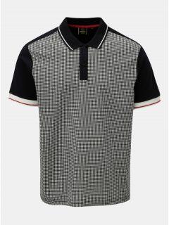 Černo-šedé vzorované polo tričko s krátkým rukávem Merc