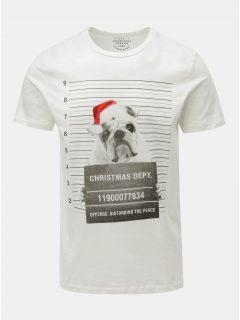 Bílé tričko s vánočním potiskem buldoka Jack & Jones Xmas