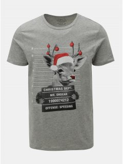 Šedé žíhané tričko s vánočním potiskem srnce Jack & Jones Xmas