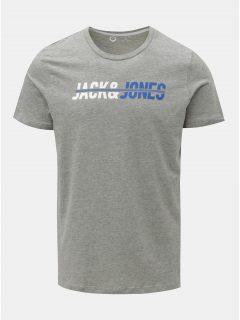 Šedé žíhané tričko s nápisem Jack & Jones Linn