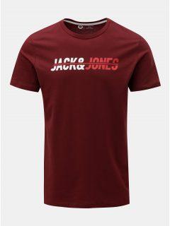 Vínové tričko s nápisem Jack & Jones Linn