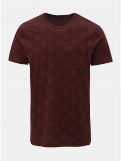 Vínové květované slim fit tričko s náprsní kapsou Jack & Jones Terry