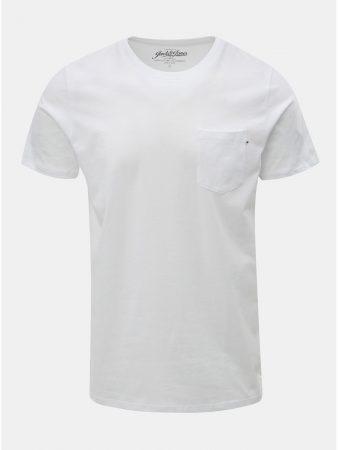 53f01f0b99d4 Bílé slim fit tričko s náprsní kapsou Jack   Jones - Pánská trička