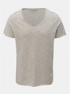Žluto-krémové pruhované basic tričko s krátkým rukávem Selected Homme Merce