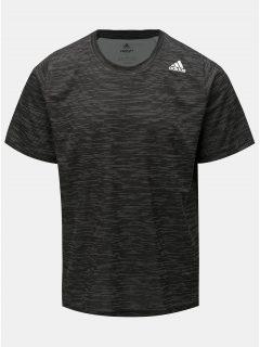 Tmavě šedé pánské žíhané funkční tričko adidas Performance