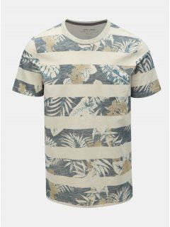 Modro-béžové vzorované tričko Jack & Jones Rise