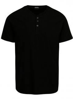 Černé tričko s knoflíky Burton Menswear London