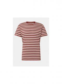 Krémovo-vínové pánské pruhované tričko Tom Tailor