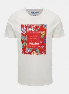 Bílé tričko s potiskem Jack & Jones Tropicana