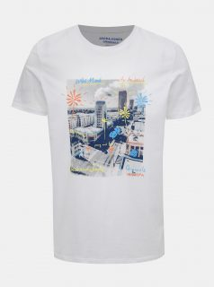Bílé tričko s potiskem  Jack & Jones Sundaze