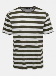 Bílo-zelené pruhované tričko ONLY & SONS Cole
