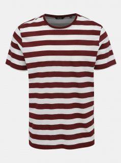 Bílo-vínové pruhované tričko ONLY & SONS Cole
