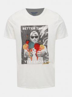 Bílé tričko s potiskem Jack & Jones Fabian