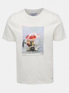 Bílé tričko s potiskem Jack & Jones Renzu