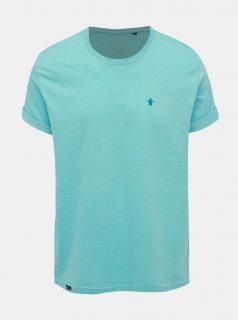 Tyrkysové žíhané basic tričko s výšivkou Mr. Sailor