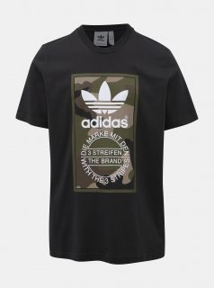 Černé pánské tričko s potiskem adidas Originals Camo