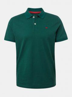 Tmavě zelené pánské basic polo tričko Tom Tailor