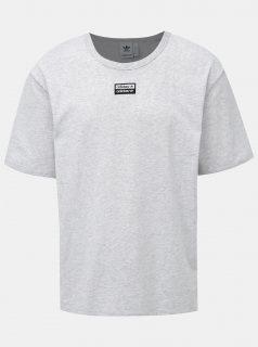 Světle šedé pánské žíhané tričko s nášivkou adidas Originals