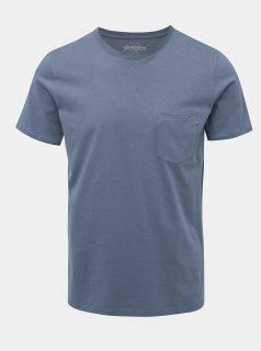 Modré slim fit tričko s kapsou Jack & Jones Pocket