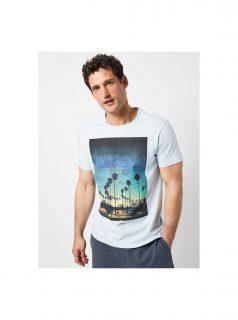 Světle modré tričko s potiskem Burton Menswear London