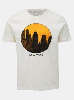 Krémové tričko s potiskem Selected Homme Paul