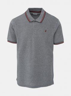 Šedé žíhané polo tričko Burton Menswear London Stone