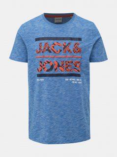 Modré žíhané slim fit tričko s potiskem Jack & Jones CORE Foni