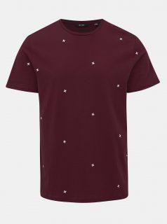 Vínové vzorované tričko ONLY & SONS Kyon