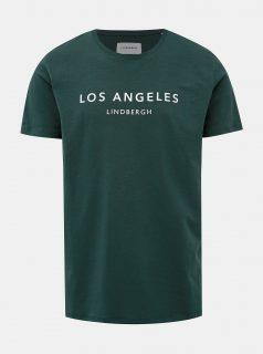 Tmavě zelené tričko s potiskem Lindbergh