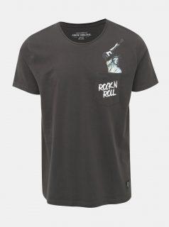 Tmavě šedé tričko s potiskem Shine Original Rock