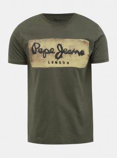 Khaki pánské tričko s potiskem Pepe Jeans Charing